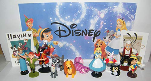 Disney Classic Movie Deluxe Party Favors Goody Bag Fillers Set of 14 with 12 Figures and 2 Stickers with Peter Pan, Alice in Wonderland, Pinocchio, Lady and the Tramp! (Lady And The Tramp Figurine Set)