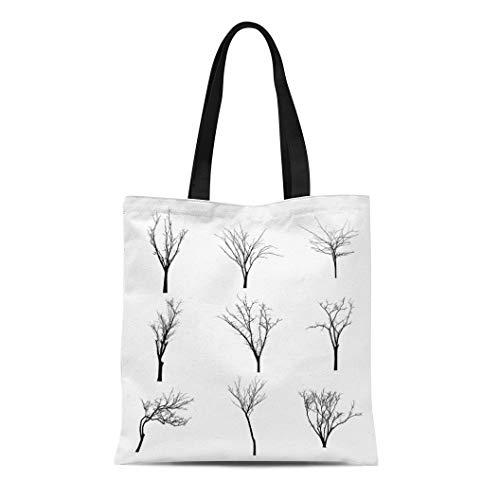 Semtomn Canvas Tote Bag Shoulder Bags Halloween Branch Black Silhouette of Bare Tree Shadow Winter Women's Handle Shoulder Tote Shopper Handbag -