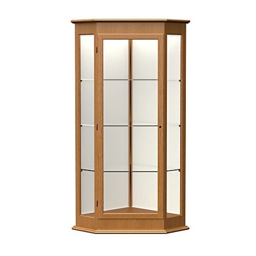 Waddell Varsity Hinged Door Lighted Corner Display Case, 28W by 77H by 28