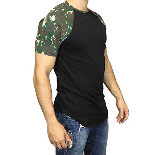 Print Turtleneck Cotton Interlock (Men Tops Summer Camouflage Print T-Shirt Casual Short Sleeve Blouse Cotton Tropical Hawaiian Polos Tees)