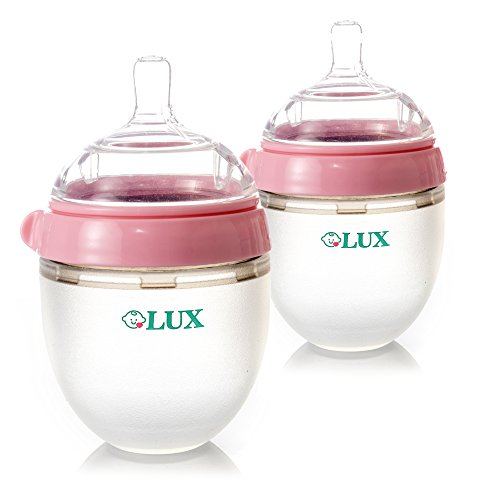 LUX Nature Baby Bottle | Anti Colic Infant Bottle | Silicone Breast-Like Baby Bottle | Nursing Bottle | BPA Free | No Leaking| by LUX Baby Bottle (2 PACK, 5 oz) (Pink)