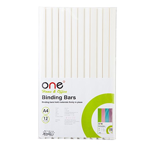 ONE Office A4 Paper Binding Bars 5 mm., White Opaque Color, 12 pcs / Pack.