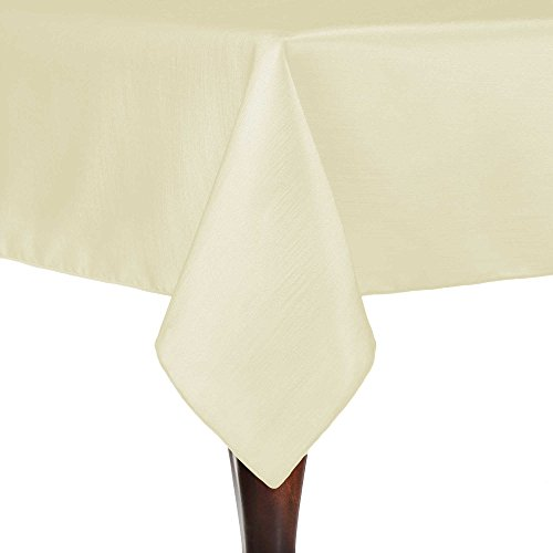 Ultimate Textile (10 Pack) Reversible Shantung Satin - Majestic 70 x 70-Inch Square Tablecloth - for Weddings, Home Parties and Special Event use, Ivory Cream by Ultimate Textile