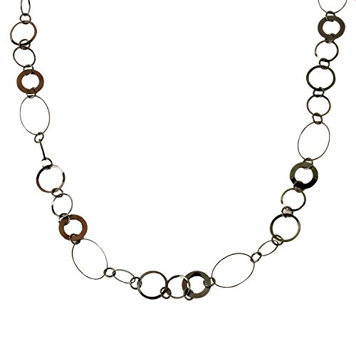 Miss Mimi - Womens Classic Vintage Connecting Circle Oval Links - Chain Statement Stranded Long Necklace (Black Link (Brass Link Chain Circle Necklace)