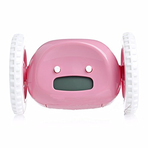 Running Alarm Clock Lcd Display Runaway Clocky Moving Wheels  Pink
