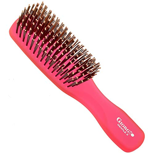 Giorgio GION2R Neon Gentle Styling Hair Brush Purse/Travel Size - Wet/Dry Pro Detangle, Soft for Sensitive Scalp, for Men Women and Kids All hair lengths, Durable and Anti-static, Raspberry