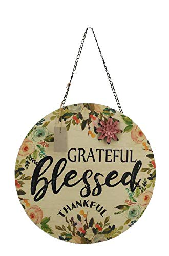 Parisloft Grateful Blessed Thankful Round Wood Wall Hanging Floral Sign with Saying, Chain & Metal Flower 17 Inches Diameter (Grateful Blessed Thankful)