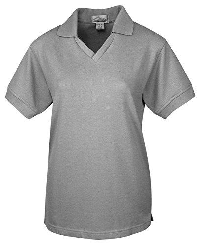 (Tri-Mountain 101 Women's Venice Short Sleeve V-Neck Pique Golf Shirt Heather Gray 3XL)