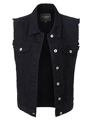 LE3NO Womens Sleeveless Vintage Oversized Distressed Ripped Denim Vest Jacket
