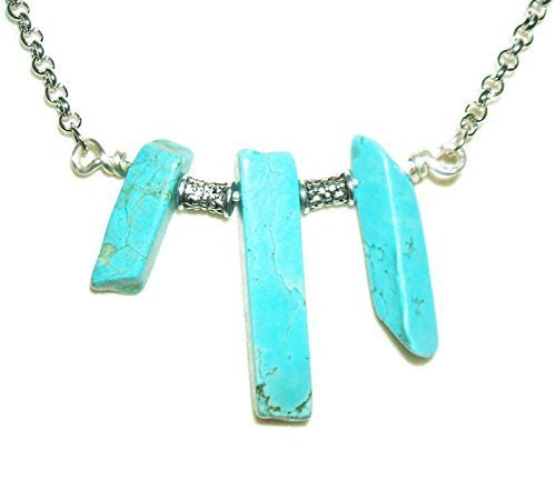 Slab Turquoise Necklace - Necklace TURQUOISE BLUE Three Stone Pendant CALM EMOTIONS DREAM RETENTION Metaphysical