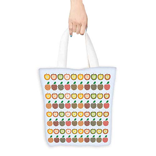 Apple Handbags Retro Style Pattern Apples with Polka Dot Pattern Colorful Cheerful Happy Healthy Foldable 16.5