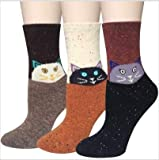 Justay 3 Pack Women Wool Socks, Thick Warm Cute Animal Pattern Cartoon Funny Casual Socks Design & Thermal Soft Fuzzy Socks