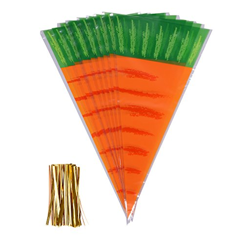 eborder 100 Piece Easter Carrot Cone Cello Bags Cellophane Treat Bags for Candies Handmade Cookies with Gold Twist Ties, 16 by 8 Inch