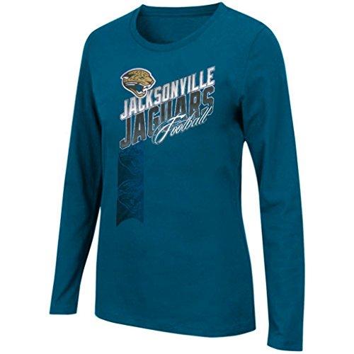 NFL Womens Her Jazz Long Sleeve Shirt Aqua Plus Sizes (1X) (Jaguar Womens Long Sleeve)