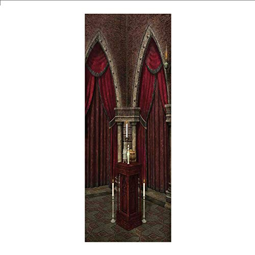 (3D Decorative Film Privacy Window Film No Glue,Gothic,Mysterious Dark Room in Castle Ancient Pillars Candles Spiritual Atmosphere Pattern,Red Black,for Home&Office)