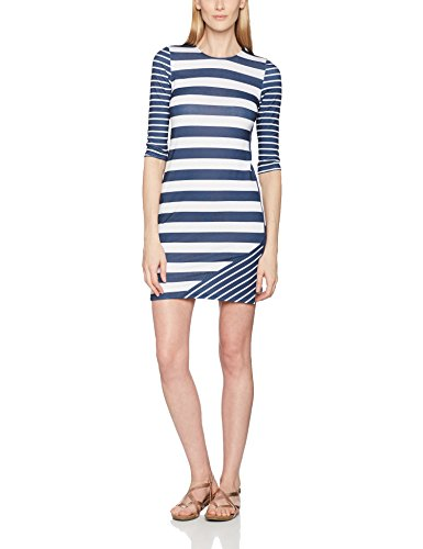 Navy HotSquash York White Dress Damen Blau Kleid Striped RwqTYR1