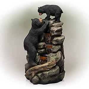 Alpine TZL178 Mom and Bear Cub Climbing Waterfall Fountain with LED Lights, 36″ Tall