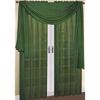 Marvelous LuxuryDiscounts 2 Piece Solid Hunter Green Elegant Sheer Curtains Fully  Stitched Panels Window Treatment Drape 54