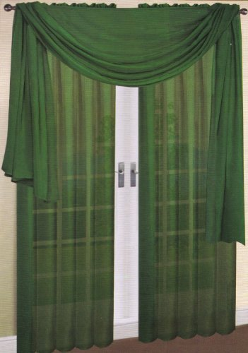 LuxuryDiscounts Beautiful Elegant Solid Hunter Green Sheer Scarf Valance Topper 40