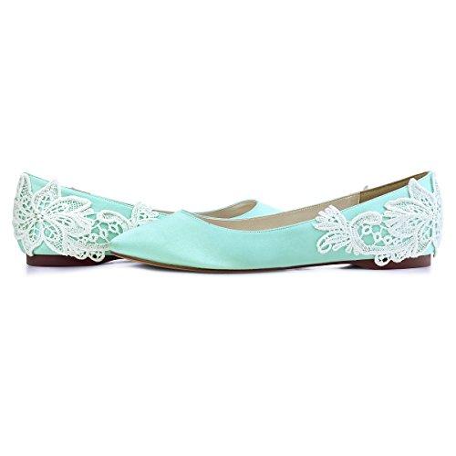 ElegantPark FC1607 Women`s Closed Toe Flower Appliques Satin Flats Mint US 8