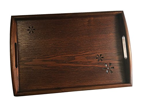 Eco Life - Rectangle Wood Serving Tray with Handles and Hollowed-out Sakura, For Your Ottoman - Brown - 16.5'' x 11'' by Eco life