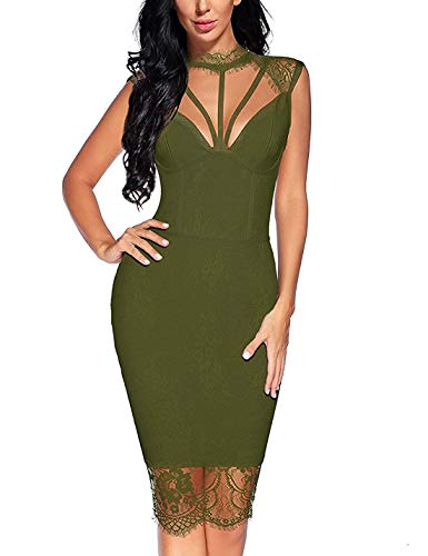 houstil Women's Bandage Collared Lace Mesh Backless Bodycon Party Dress (Olive, L)