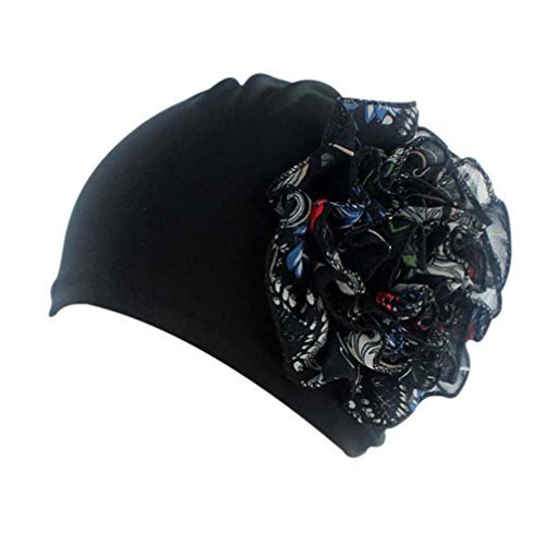 QingFan Multicolor Flower Pre Tied Bandana Head Scarf Hat Turban Headwear Women Stretch Cancer (Black) (History Design Bandana)
