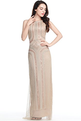 BABEYOND 1920s Flapper Fancy Dress Roaring 20s Gatsby Dress Costume Vintage Sequin Beaded Long Evening Dress (Beige, Medium)