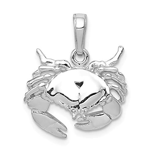 14k White Gold Stone Crab Facing Down Pendant ()