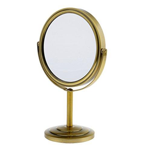 Homyl Espejo de Maquillaje de Doble Cara Base de Metal Visión Normal y de Aumento Magnificador - Bron