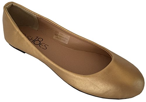 Shoes 18 Womens Ballerina Ballet Flat Shoes Solids & Leopards (6, Gold PU 8600) ()