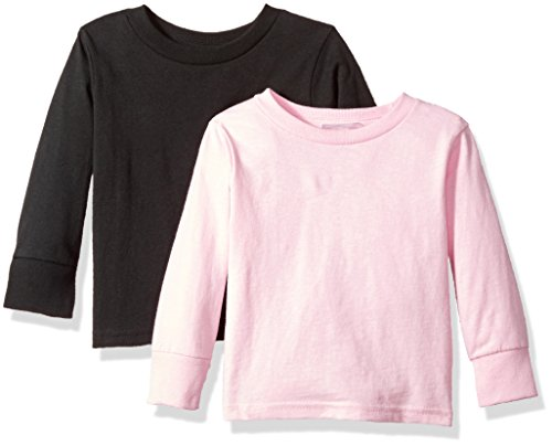 Clementine Baby Girls' Little Boys' Everyday Toddler Long Sleeve T-Shirts Crew 2-Pack, Black/Pink, 2T by Clementine