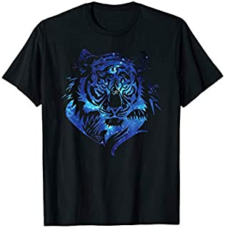 Cosmic Cat T Galaxy Tiger Alien  Graphic Design T-shirt | Size S - 5XL