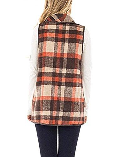 Yanekop Womens Sleeveless Open Front Hem Plaid Vest Cardigan Jacket with Pockets(Orange Brown,L) by Yanekop (Image #4)