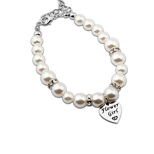 ENSIANTH Flower Girl Bracelet Wedding Party Gift Flower Girl Pearl Bracelet - Flower Girl Bracelet Pearl