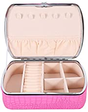 ABOOFAN Jewelry Travel Organizer Box Leather Travel Jewelry Case Portable Jewelry Box Travel Necklace Holder Travel Earring Case (Pink Black)