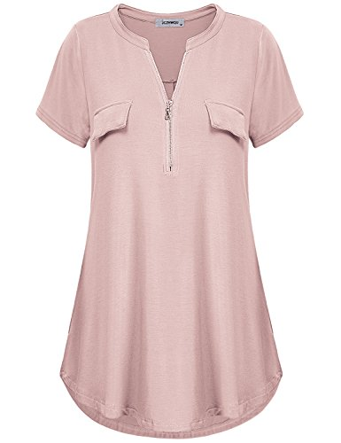 Tunic Tops for Women, Ladies Vintage Notch V Neck Zip up Blouse Short Sleeve Solid Color Form-Fitting Working Trapeze Shirt Henley Blouse Dark Pink M by Finice