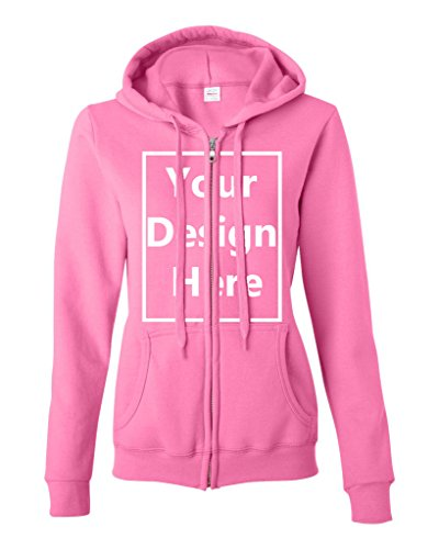Ladies Add Your Own Text and Design Custom Personalized Sweatshirt Zip Hoodie (Large, Azalea)