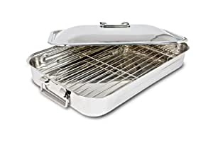 Cuisinox PAN-3526 Covered Rectangular Roaster with Rack, 35 by 26cm