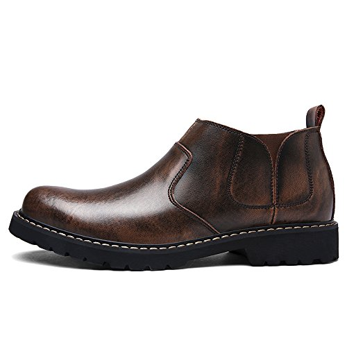 Enllerviid Uomo Slip Elastico Su Oxfords Dress Shoes Flat Faux Fur Crazy Horse Stivaletti Da Lavoro Marrone Faux Foderato In Pelliccia