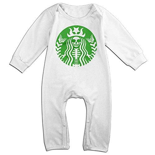 [KIDDOS Baby Infant Romper Green Star Skull Long Sleeve Jumpsuit Costume,White 6 M] (Odd Squad Costume)