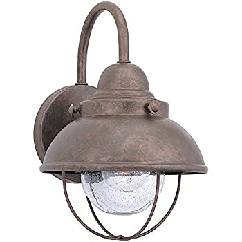 Sea Gull Lighting 8870-44 Sebring One-Light Outdoor Wall Lantern with Clear Seeded Glass Diffuser, Weathered Copper Finish