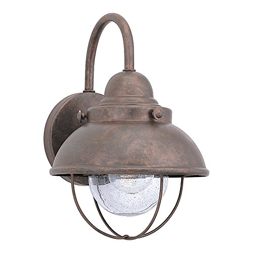 Sea Gull Lighting 8870-44 Sebring One-Light Outdoor Wall Lantern with Clear Seeded Glass Diffuser, Weathered Copper Finish (Outdoor Copper Sconce)