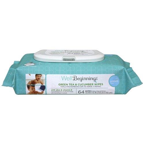 Amazon.com : Well Beginnings Airweave Baby Wipes, Green Tea & Cucumber 64 Ea Pack of 2 : Baby