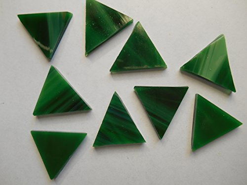 FortySevenGems 50 Pieces Green Stained Glass Mosaic Triangle Tiles 1 Inch ()