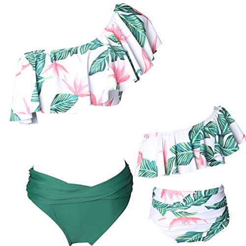 KABETY Girls Swimsuit Two Pieces Bikini Set Ruffle Falbala Swimwear Bathing Suits (Green B, Mom XL)
