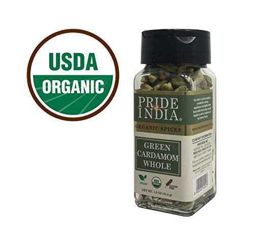 Pride Of India - Organic Green Cardamom Whole- 1.6 oz (45 gm) Dual Sifting Jars - Authentic Indian Green Pods - Best added to Rice, Tea - BUY 1 GET - Pods Cardamom Green