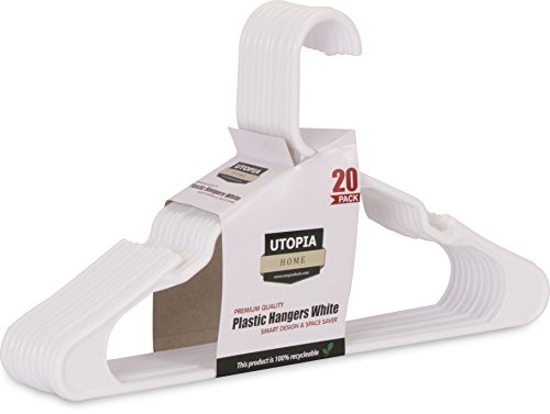 20-Pack Standard Plastic Hangers White - by Utopia Home (White)