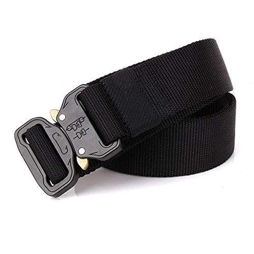 Hattfart Men Tactical Buckle Belt Heavy Duty Metal Buckle Military Webbing Nylon Belt Training Strap (Black) by Hattfart (Image #1)