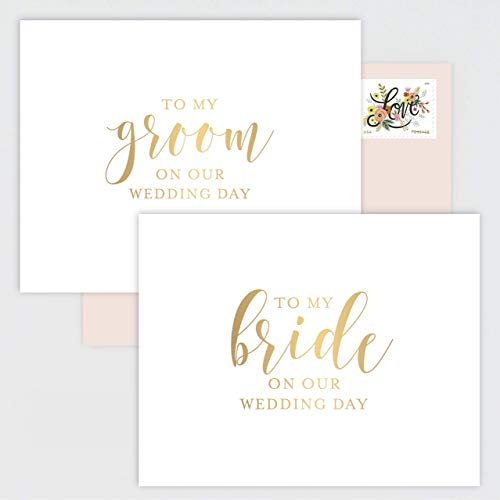 SET OF 2 Wedding Day Cards for Bride and Groom - White Cards with Gold Foil Calligraphy and Blush Pink Envelopes (Letter To My Mom On My Wedding Day)